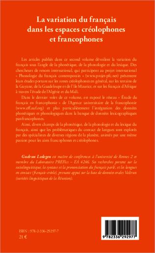 4eme La variation du français dans les espaces créolophones et francophones (Tome II)