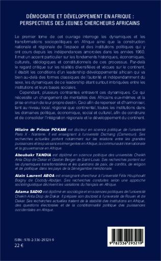 4eme Démocratie et développement en Afrique : perspectives des jeunes chercheurs africains (Tome 1)