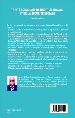4eme Traité congolais de droit du travail et de la sécurité sociale