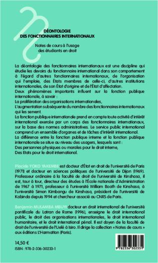 4eme Déontologie des fonctionnaires internationaux
