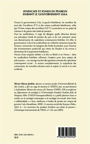 4eme Syndicats et fonds de pension durant le gouvernement Lula