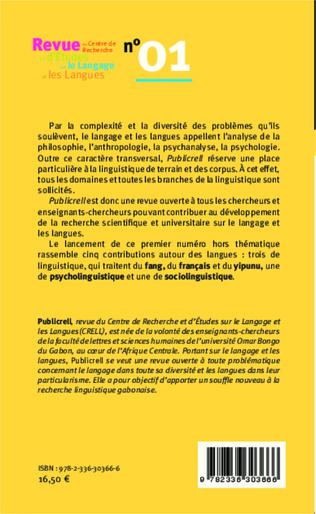 4eme Revue du Centre de Recherche et d'Etudes sur le Langage et les Langues