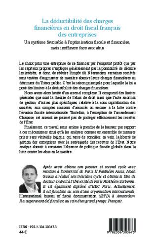 4eme La déductibilité des charges financières en droit fiscal français des entreprises