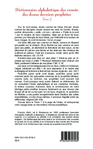 4eme Dictionnaire alphabétique des versets des douze derniers prophètes