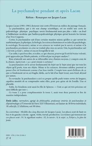 4eme La psychanalyse pendant et après Lacan - Tome 2