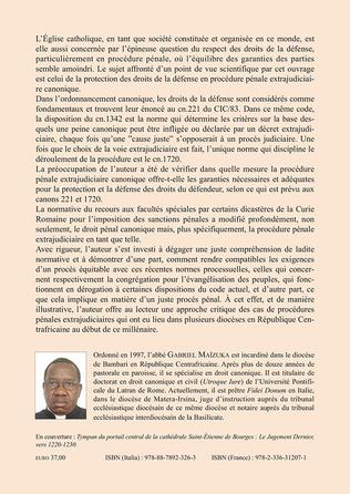 4eme Procédure pénale extrajudiciaire canonique et droits de la défense