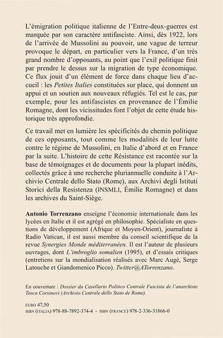 4eme Antifascistes de l'Émilie Romagne réfugiés en France : 1922-1943