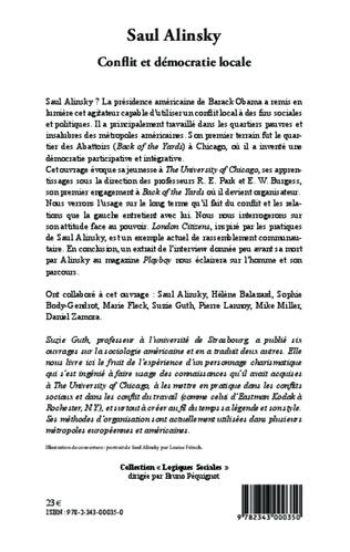4eme Saul Alinsky. Conflit et démocratie locale