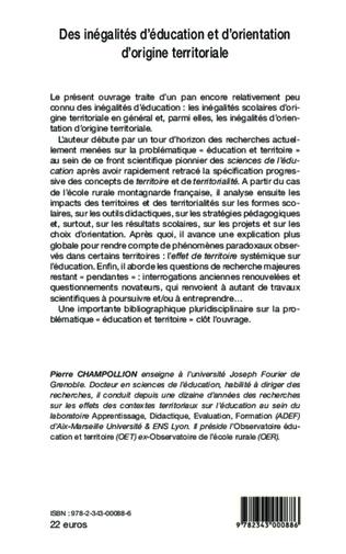 4eme Des inégalités d'éducation et d'orientation d'origine territoriale