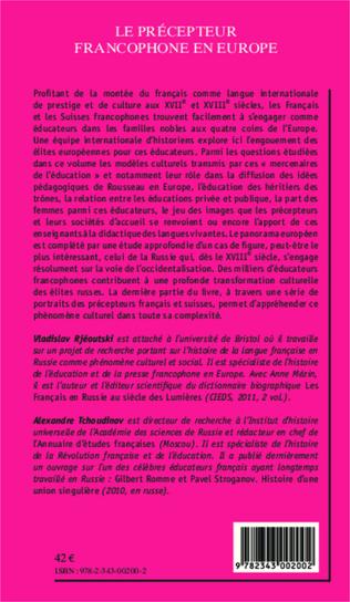 4eme Le précepteur francophone en Europe