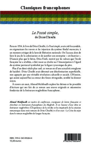 SIMPLE PASSÉ DRISS LE TÉLÉCHARGER CHRAIBI PDF DE
