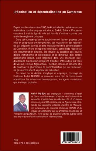 4eme Urbanisation et décentralisation au Cameroun