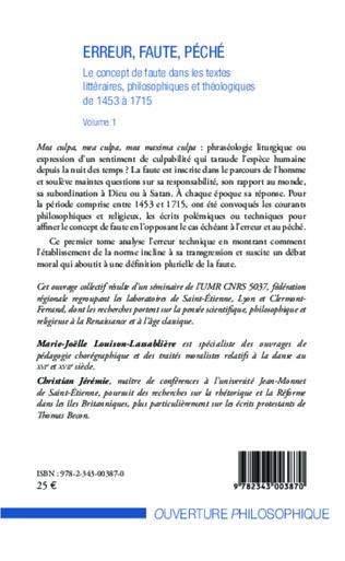 4eme Erreur, faute, péché (Volume 1)