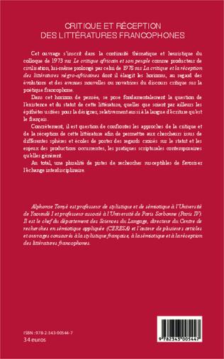 4eme Critique et réception des littéartures francophones