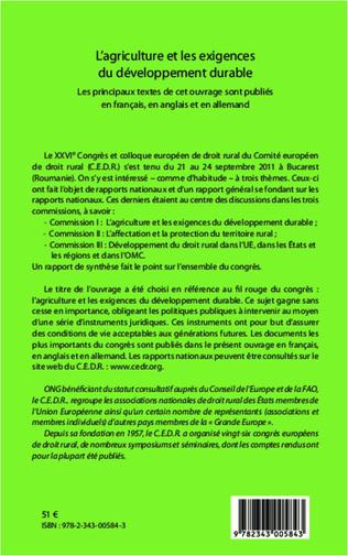 4eme L'agriculture et les exigences du développement durable