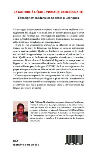 4eme La culture à l'école primaire Camerounaise