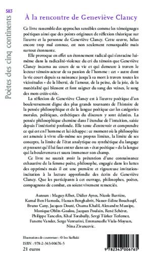 4eme A la rencontre de Geneviève Clancy, poète-philosophe