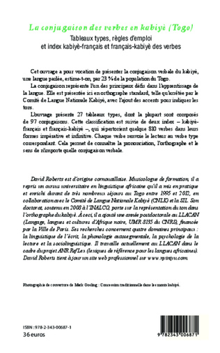 La Conjugaison Des Verbes En Kabiye Togo Tableaux Types Regles D Emploi Et Index Kabiye Francais Et Francais Kabiye Des Verbes David Roberts Livre Ebook Epub