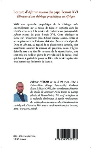 4eme Lecture d'Africae munus du pape Benoit XVI ; Eléments d'une théologie prophétique en Afrique