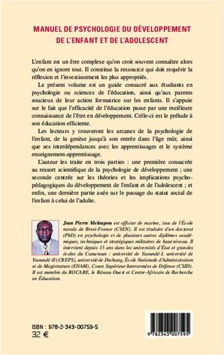4eme Manuel de psychologie du développement de l'enfant et de l'adolescent