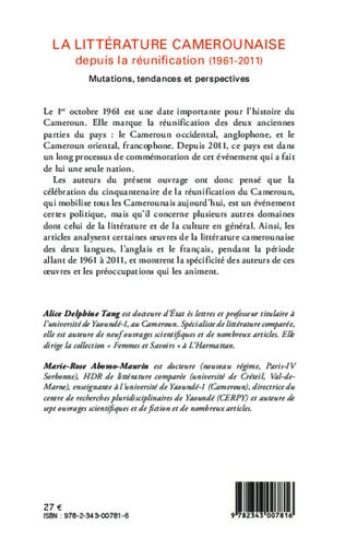 4eme La littérature camerounaise depuis la réunification (1961-2011)
