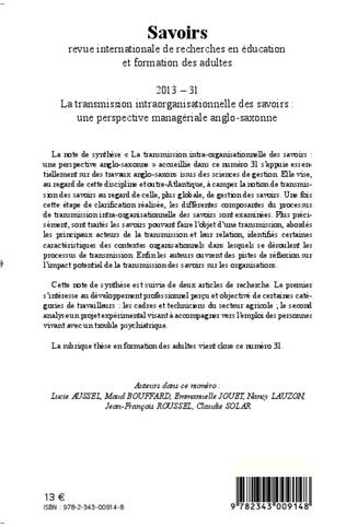 4eme La transmission intra-organisationnelle des savoirs : une perspective anglo-saxonne