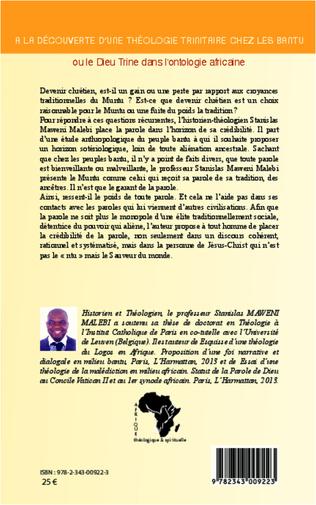 4eme A la découverte d'une théologie trinitaire chez les Bantu