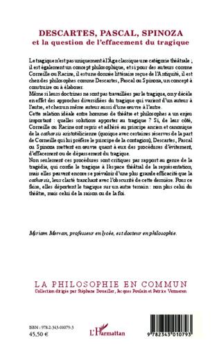 4eme Descartes, Pascal, Spinoza et la question de l'effacement tragique
