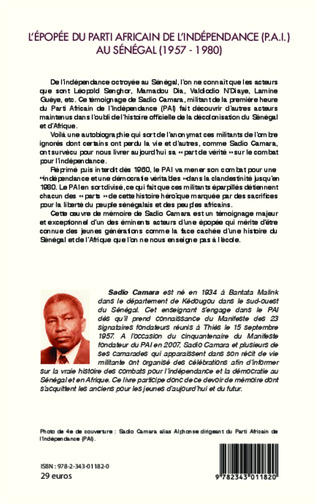4eme L'épopée du Parti Africain de l'Indépendance (P.A.I.) au Sénégal (1957-1980)