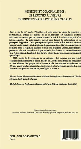 4eme Missions et colonialisme: le Lesotho à l'heure du bicentenaire d'Eugène Casalis