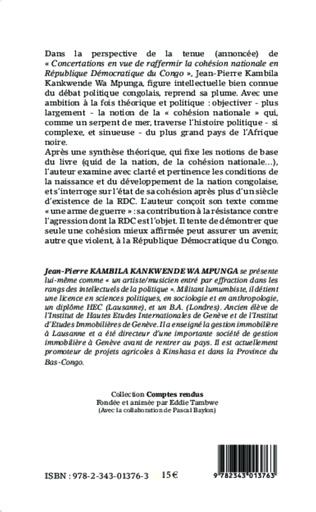 4eme La question de la cohésion nationale en République Démocratique du Congo