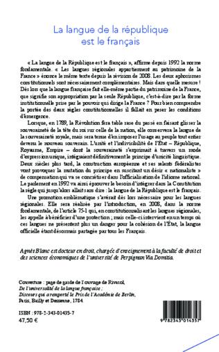 4eme La langue de la république est le français