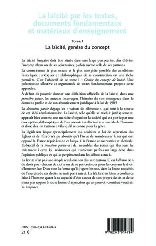 4eme La laïcité par les textes, documents fondamentaux et matériaux d'enseignement (Tome 1)
