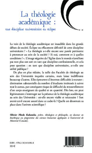 4eme La théologie académique : une discipline universitaire en éclipse