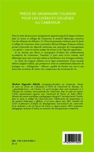 4eme Précis de grammaire italienne pour les lycées et collèges au Cameroun