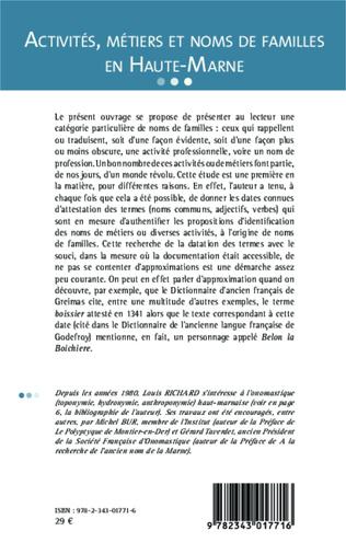 4eme Activités, métiers et noms de famille en Haute-Marne