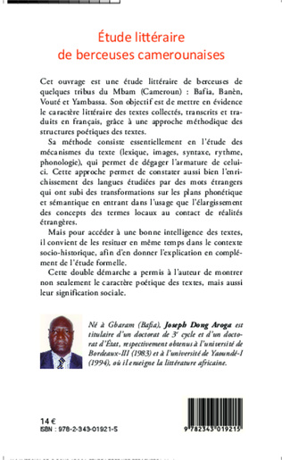 4eme Etude littéraire de berceuses camerounaises
