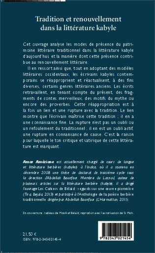 4eme Tradition et renouvellement dans la littérature kabyle