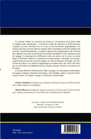 4eme La prière dans les langues indo-européennes: linguistique et religion