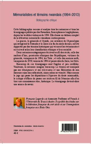 4eme Mémorialistes et témoins rwandais (1994-2013)