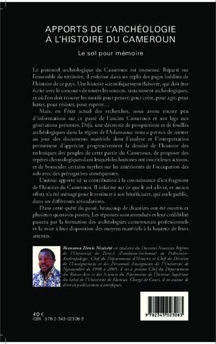 4eme Apports de l'archéologie à l'histoire du Cameroun