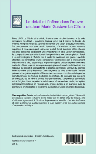 4eme Le détail et l'infime dans l'oeuvre de Jean Marie Gustave Le Clézio