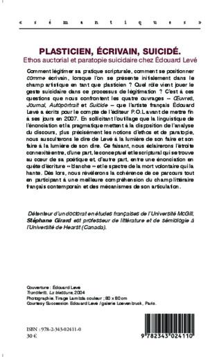 4eme Plasticien, écrivain, suicidé