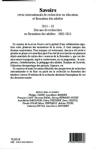 4eme Dix ans de recherches en formation des adultes : 2003-2013