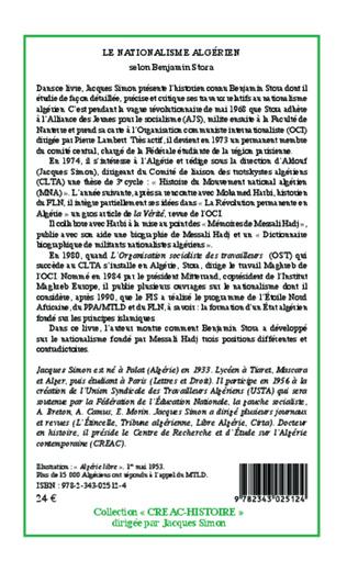 4eme Le nationalisme algérien selon Benjamin Stora