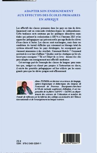 4eme Adapter son enseignement aux effectifs des écoles primaires en Afrique