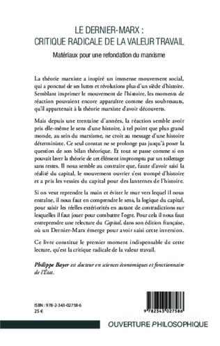 4eme Le Dernier-Marx : critique radicale de la valeur travail