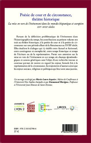 4eme Poésie de cour et de circonstance, théâtre historique