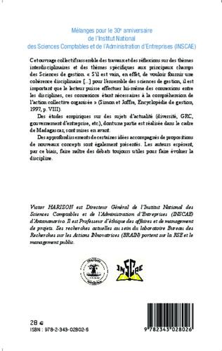 4eme Mélanges pour le 30e anniversaire de l'Institut National des Sciences Comptables et de l'Administration d'Entreprises (INSCAE)