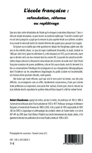 L Ecole Francaise Refondation Reforme Ou Replatrage